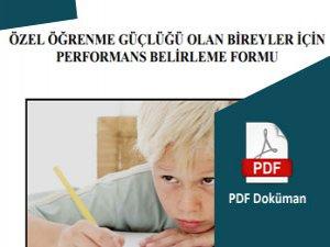 Özel Öğrenme Güçlüğü Performans Belirleme Formu