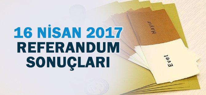 16 Nisan 2017 Referandum Türkiye Geneli Sonuçları