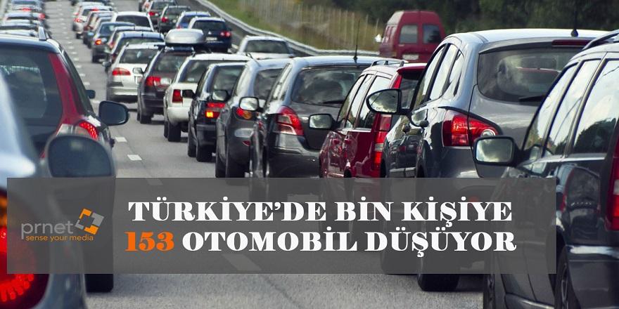 Türkiye'de Bin Kişiye 153 Otomobil Düşüyor