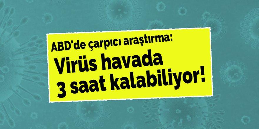 Virüs havada 3 saat kalabiliyor!