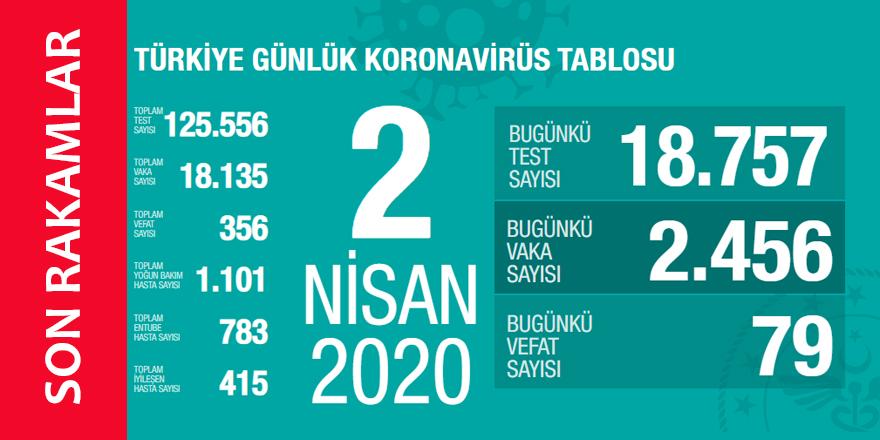 Koronavirüs 2 Nisan 2020 Türkiye İstatistikleri