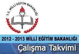 2012 - 2013 Milli Eğitim Bakanlığı Çalışma Takvimi