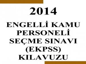 2014 EKPSS Başvuru Kılavuzu