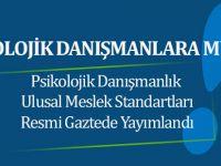 Psikolojik Danışmanlık Mesleği Ulusal Standartları Yayımlandı