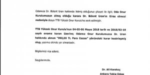 Ankara Tabip Odasından Dr. Bülent Uran'a Para Cezası